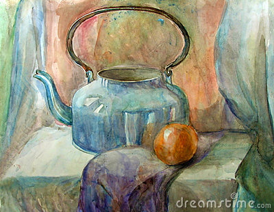 Watercolor still-life painting