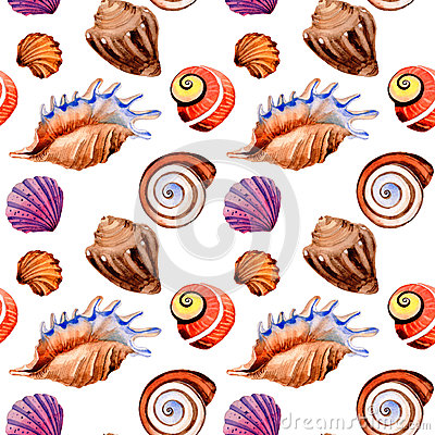 Free Watercolor Summer Beach Seashell Tropical Elements Pattern, Underwater Creatures. Royalty Free Stock Photos - 94166108