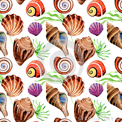 Free Watercolor Summer Beach Seashell Tropical Elements Pattern, Underwater Creatures. Stock Photo - 94166210