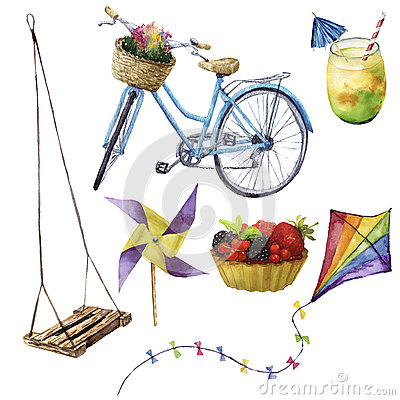 Free Watercolor Summer Pleasures Set. Hand Painted Summer Vacation Objects: Swing, Cocktail, Kait, Fruit Cake, Bike And Royalty Free Stock Photos - 94479978