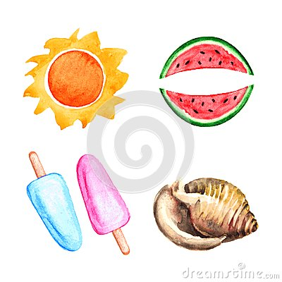 Free Watercolor Sun, Watermelon, Shell, Ice Cream Royalty Free Stock Photography - 43014197