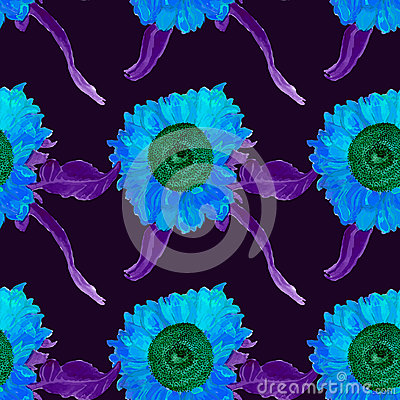 Free Watercolor Sunflower Seamless Summer Pattern, Painted By Hand, Vector Image. Royalty Free Stock Image - 54597606
