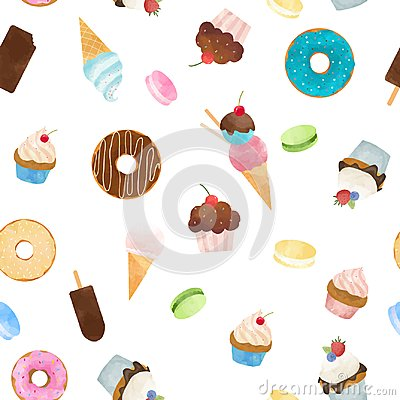 Free Watercolor Sweets Vector Pattern Stock Image - 121469001