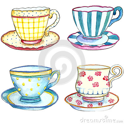 Free Watercolor Tea Cups. Stock Image - 59926961