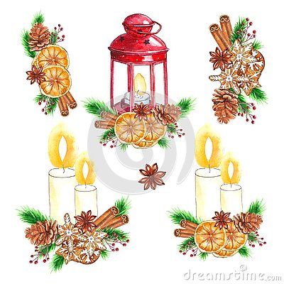 Watercolor traditional Set of red lantern with candle and Christmas decor Stock Photo