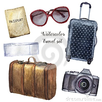 Free Watercolor Travel Set. Hand Painted Tourist Objects Set Including Passport, Ticket, Leather Vintage Suitcase, Polka Dot Stock Image - 107390401