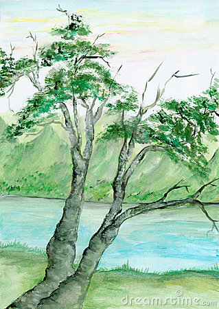Watercolor tree and river