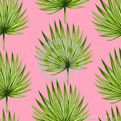 Free Watercolor Tropical Palm Leaves Seamless Pattern. Royalty Free Stock Images - 56780779