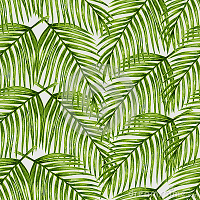 Free Watercolor Tropical Palm Leaves Seamless Pattern. Stock Photos - 56780783