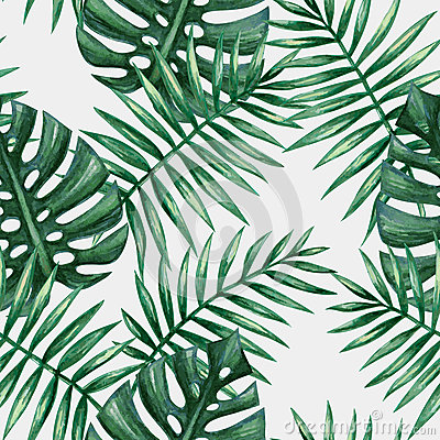 Free Watercolor Tropical Palm Leaves Seamless Pattern. Stock Images - 66068334