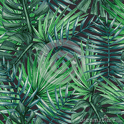 Watercolor tropical palm leaves seamless pattern. Vector Illustration