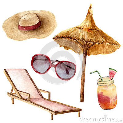 Free Watercolor Tropical Vacation Set. Hand Painted Summer Beach Objects: Sunglasses, Beach Umbrella, Coctail, Beach Chair Royalty Free Stock Image - 94204716