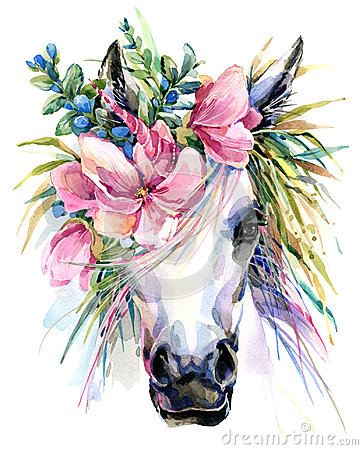 Free Watercolor Unicorn Illustration. Royalty Free Stock Photos - 94896058