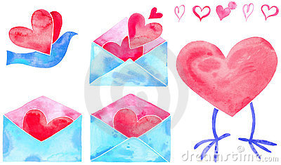 Watercolor valentine hearts and mail / bird
