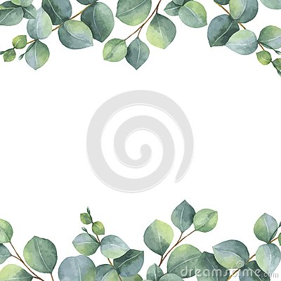 Free Watercolor Vector Green Floral Card With Silver Dollar Eucalyptus Leaves And Branches Stock Images - 99676904