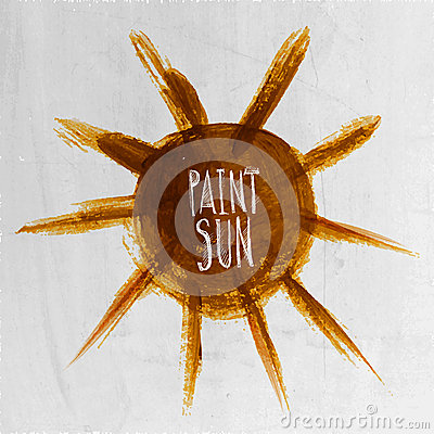 Watercolor vector hand painted sun