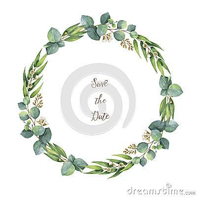 Free Watercolor Vector Round Wreath With Silver Dollar Eucalyptus. Stock Photo - 84269350