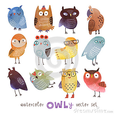 Free Watercolor Vector Set. 12 Funny Owls Royalty Free Stock Photography - 56482927