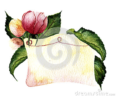 Watercolor vignette with rose and leaves. Botanical illustration. Cartoon Illustration