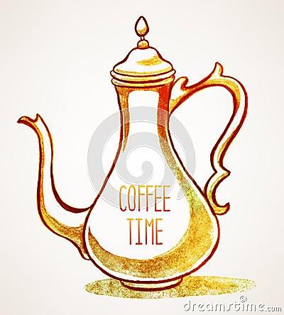 Watercolor Vintage Cafetiere Stock Vector Image 44323397