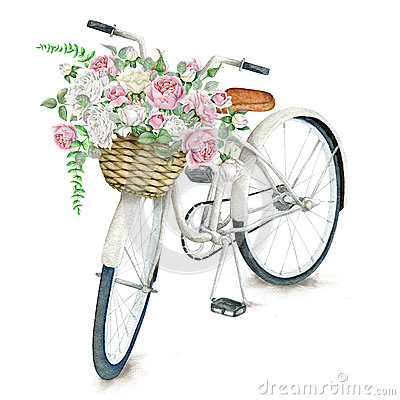Free Watercolor White Bicycle With Roses Royalty Free Stock Photos - 64026298