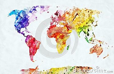 Watercolor world map Stock Photo