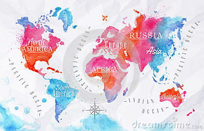 Watercolor world map pink blue vector illustration cartoondealer watercolor world map pink blue vector illustration gumiabroncs Image collections