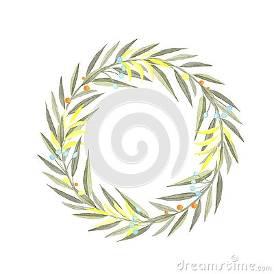 Watercolor wreath of branches Cartoon Illustration