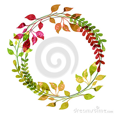 Free Watercolor Wreath From Colorful Autumn Leaves. Vector Illustrati Stock Photos - 46764233