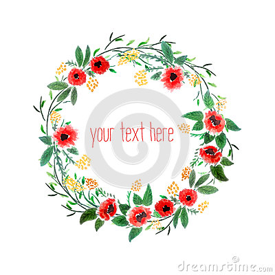 Free Watercolor Wreath With Flowers Royalty Free Stock Photography - 42294377
