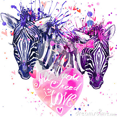 Free Watercolor Zebra Illustration. Cute Zebra. Stock Photo - 65071830