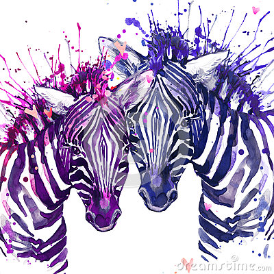 Free Watercolor Zebra Illustration. Cute Zebra. Royalty Free Stock Photos - 65072318