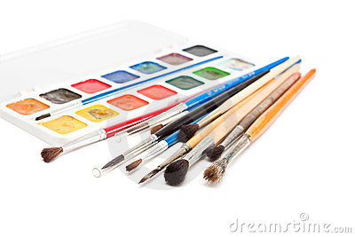 Watercolors with paint brushes.