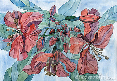 Watercolour art flowers in summer