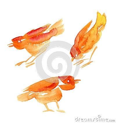 Watercolour birds set