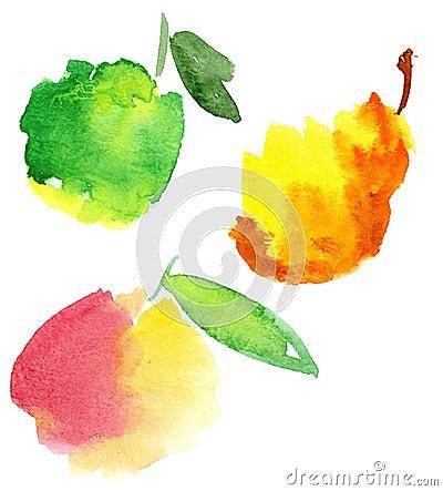 Watercolour fruites