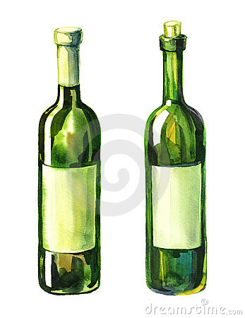 Watercolour illustration of 2 wine bottles