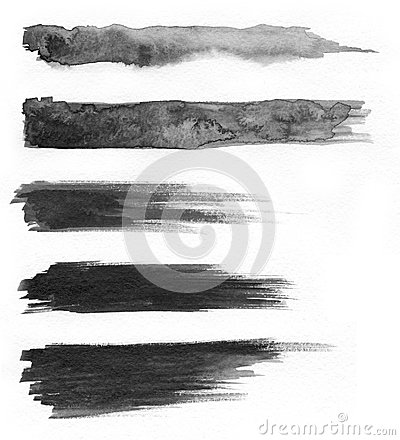 Free Watercolour. Set Of Abstract Black Watercolor Stroke Backgrounds. Stock Image - 110370261