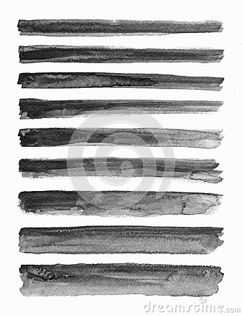 Free Watercolour. Set Of Abstract Black Watercolor Stroke Backgrounds. Stock Image - 110527901