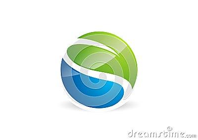 waterdrop,leaf,logo,circle,plant,spring,nature landscape symbol,global nature,letter s icon