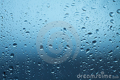 Waterdrops on window after rain