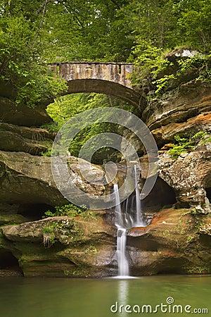 Free Waterfall And Bridge In Hocking Hills State Park, Ohio, USA Stock Image - 95143271
