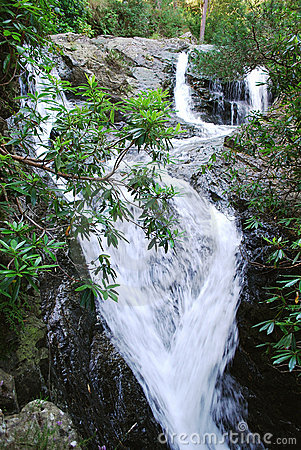 Waterfall in the area of Mourne Mountains