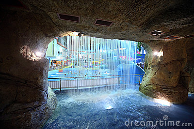 Waterfall in artificial cave in  Editorial Image
