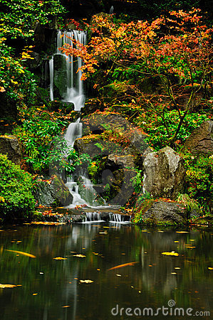 Waterfall and autumn colors