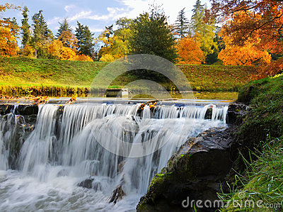 Waterfall, Autumn, Landscape, Colours