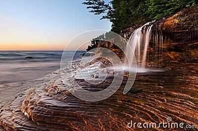 Waterfall at the beach.