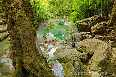 Beautiful waterfall in thailand s erawan waterfalls national park - Waterfall Beautiful Scenery In The Tropical Forest