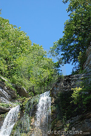Waterfall and blue sky