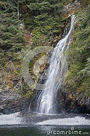 Waterfall on coastline